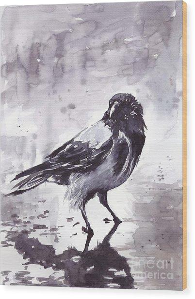 Crow Watercolor Wood Print
