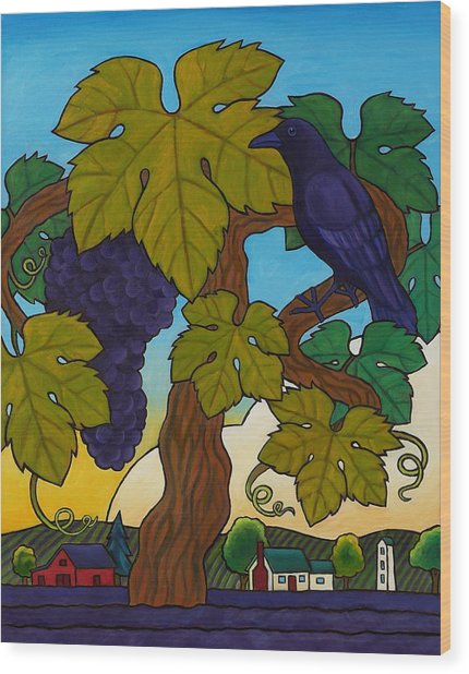 Crow With Wine On The Vine Wood Print