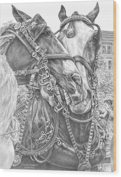 Crowd Pleasers - Clydesdale Draft Horse Art Print Wood Print