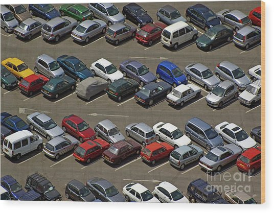 Crowded Carpark Full Of Cars Wood Print by Sami Sarkis
