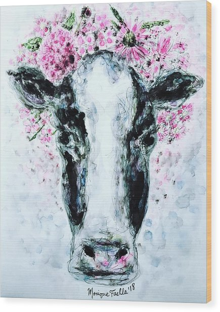 Crown Of Flowers Cow Wood Print