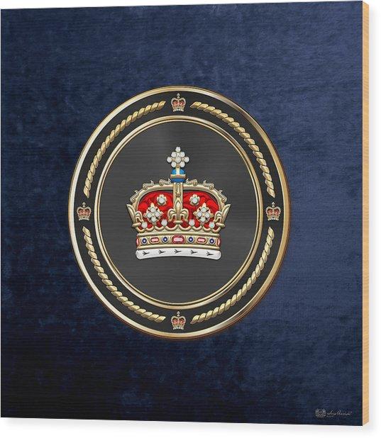 Crown Of Scotland Over Blue Velvet Wood Print