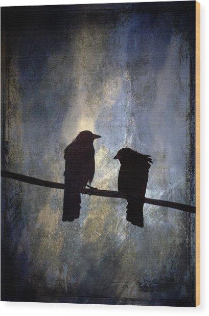 Crows And Sky Wood Print