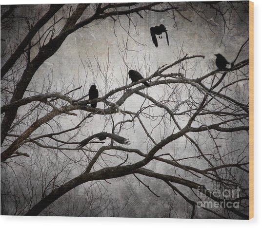 Crows At Midnight Wood Print