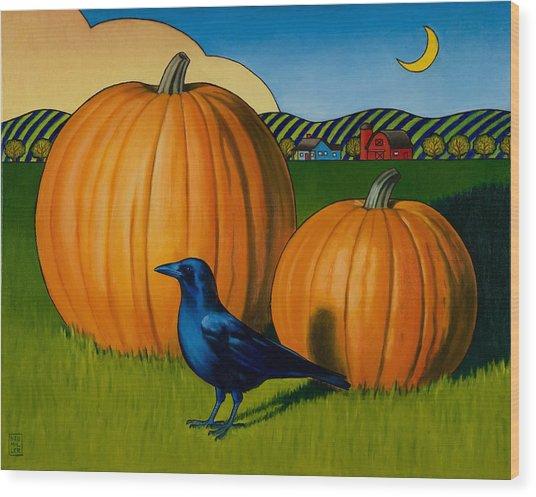Crows Harvest Wood Print