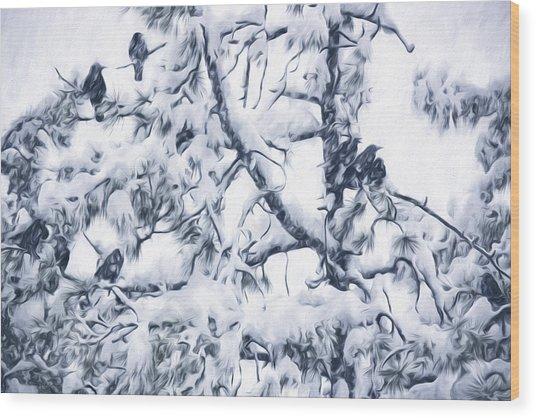 Crows In Snow Wood Print