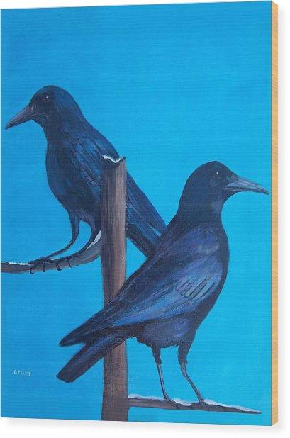 Crows On Tree Top Wood Print