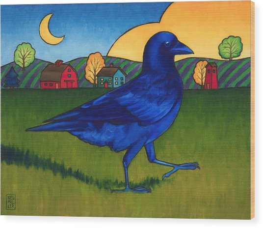 Crows Run Wood Print by Stacey Neumiller