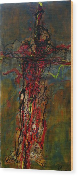 Crucified Wood Print by Paul Freidin