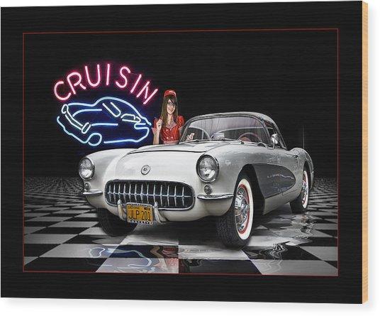 Cruisin' The Diner .... Wood Print by Rat Rod Studios