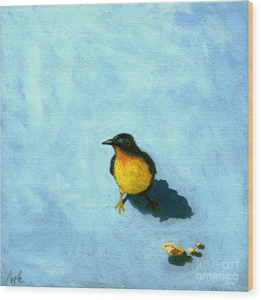 Crumbs -bird Painting Wood Print