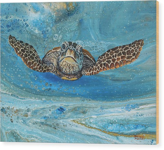 Wood Print featuring the painting Crush The Honu by Darice Machel McGuire