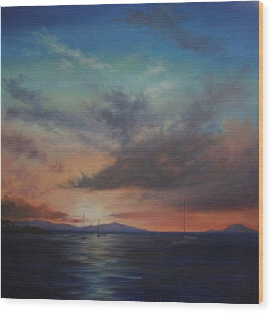 Cruz Bay Sunset By Alan Zawacki Wood Print