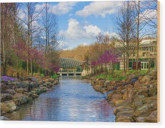 Crystal Bridges In Spring And Blue Skies Wood Print by Gregory Ballos