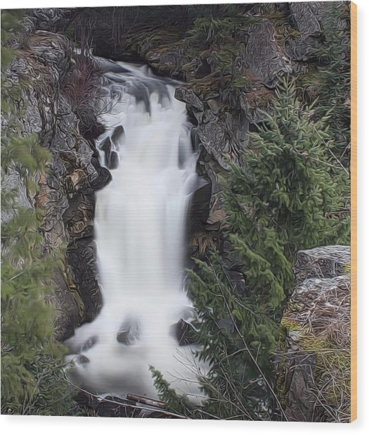 Crystal Falls , Wa Wood Print