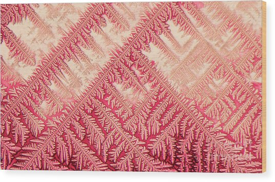 Crystal In Red Pigment Wood Print