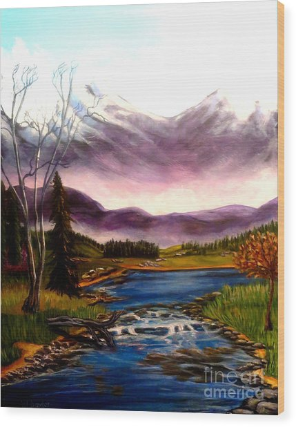 Crystal Lake With Snow Capped Mountains Wood Print