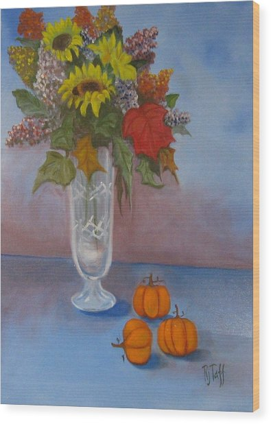 Crystal Vase Of Sunflowers Wood Print
