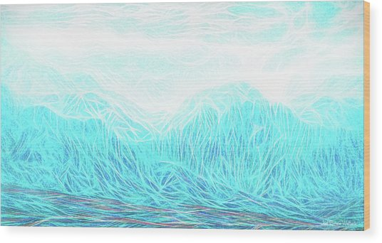 Crystalline Mountain Light Wood Print