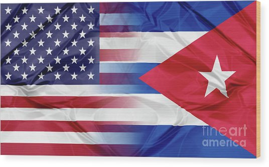 Cuba And Usa Flags Wood Print