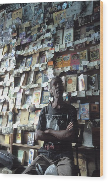 Cuba Book Store Wood Print