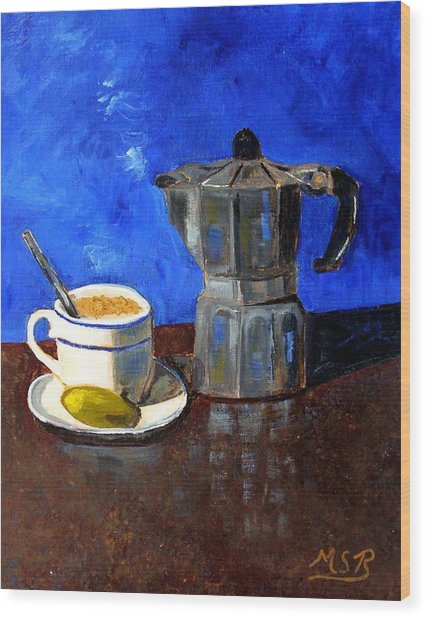 Cuban Coffee And Lime Blue Wood Print by Maria Soto Robbins