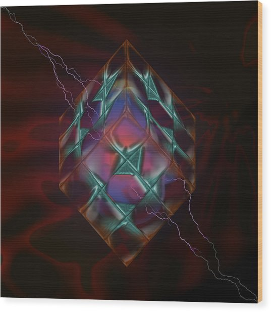 Cube With Thunders 01 Wood Print