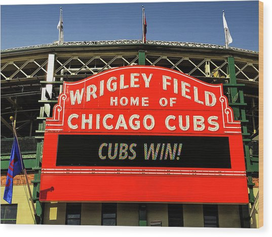 Cubs Win Wood Print