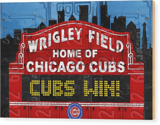 Cubs Win Wrigley Field Chicago Illinois Recycled Vintage License Plate Baseball Team Art Wood Print