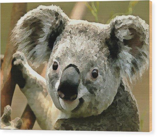 Cuddly Koala Wood Print