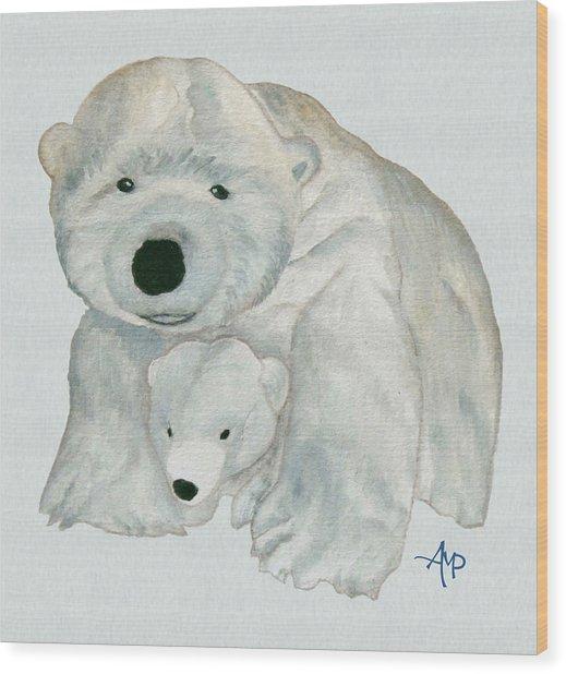 Cuddly Polar Bear Watercolor Wood Print
