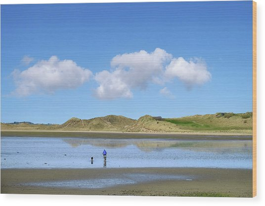 Culleenamore, Strandhill, Sligo - A Man And A Dog Cycle Over The Water To The Dunes On A Sunny Day Wood Print