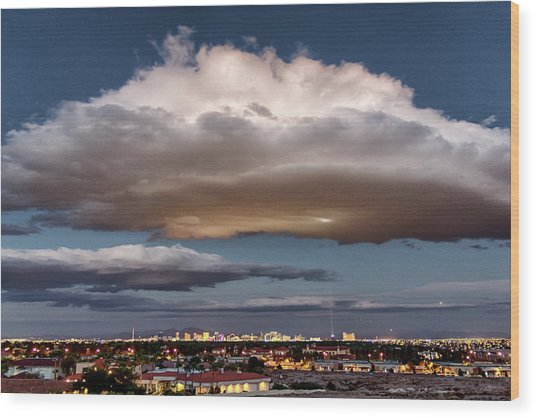 Wood Print featuring the photograph Cumulus Las Vegas by Michael Rogers