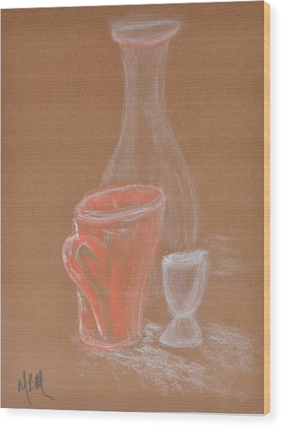 Cup And Bottle Still Wood Print by MaryBeth Minton