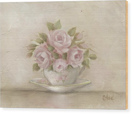 Cup And Saucer  Pink Roses Wood Print