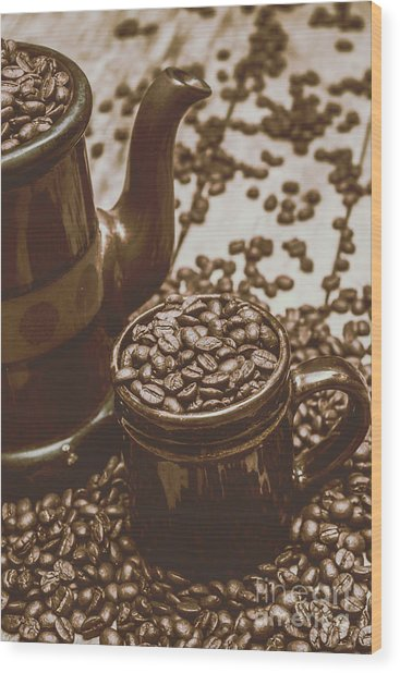Cup And Teapot Filled With Roasted Coffee Beans Wood Print