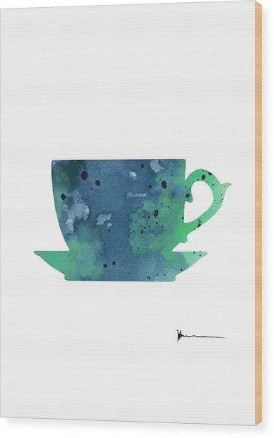 Cup Of Tea Painting Watercolor Art Print Wood Print