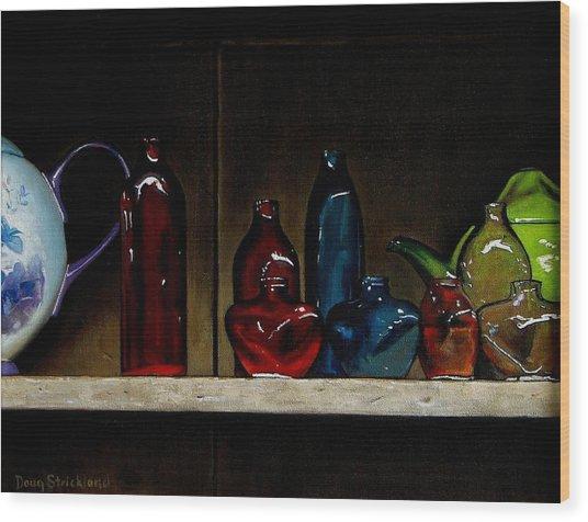 Cupboard Bottles Wood Print by Doug Strickland