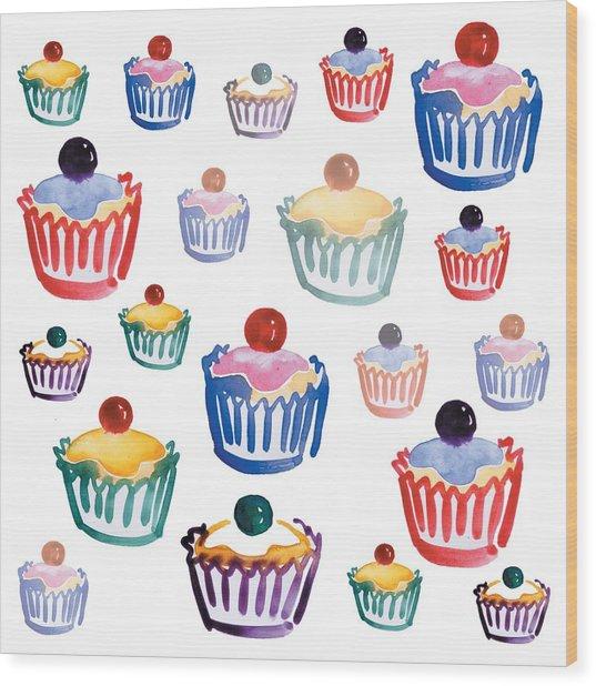 Cupcake Crazy Wood Print