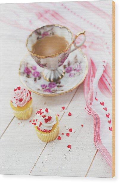 Cupcakes And Coffee Wood Print