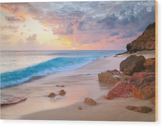 Cupecoy Beach Sunset Saint Maarten Wood Print
