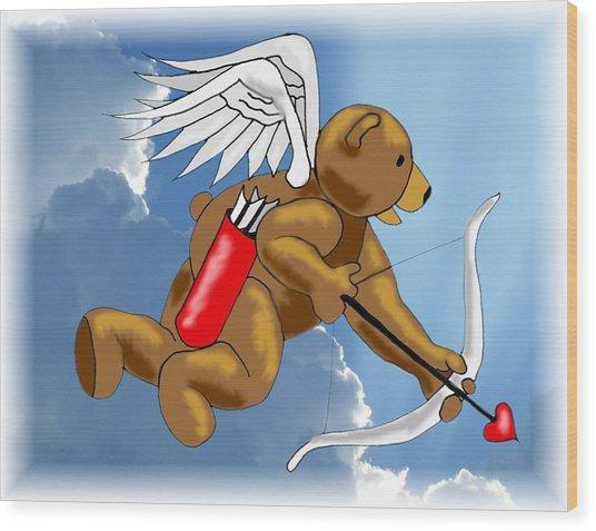 Cupid Bear Wood Print by Scarlett Royal