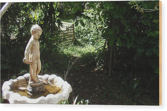 Cupid Of The Garden Wood Print by Edan Chapman
