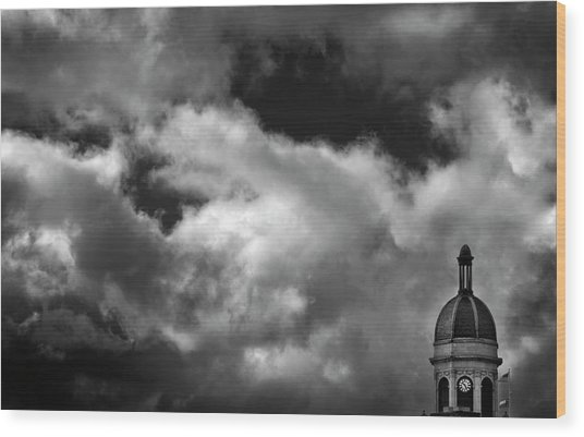Cupola And Sky In Black And White Wood Print