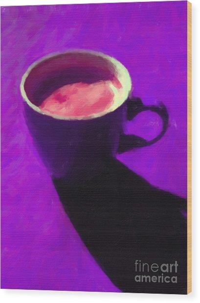 Cuppa Joe - Purple Wood Print by Wingsdomain Art and Photography