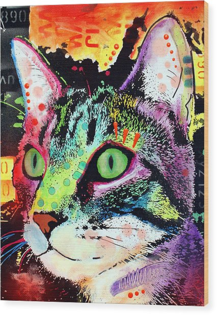 Curiosity Cat Wood Print