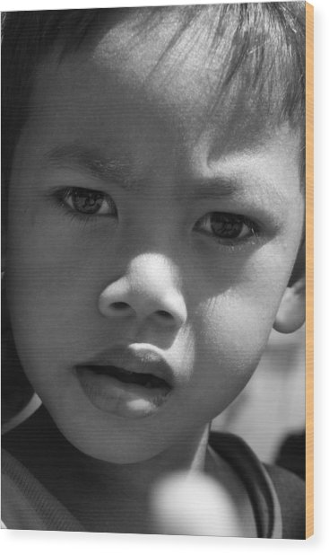 Curious Cambodian Child Wood Print by Linda Russell