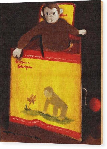 Curious George Still Life Jack In The Box  Art Print Wood Print