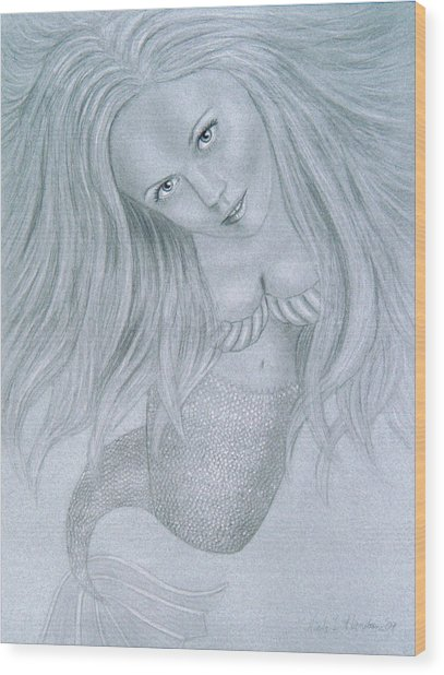 Curious Mermaid - Graphite And White Pastel Chalk Wood Print by Nicole I Hamilton