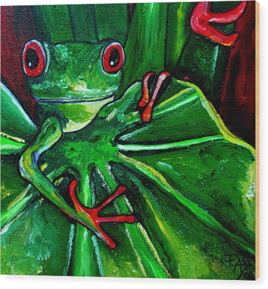 Curious Tree Frog Wood Print by Patti Schermerhorn